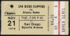 1978 Hawks at Clippers tricket stub