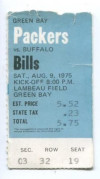 1975 Bills at Packers ticket stub