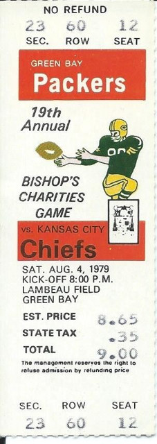 1979 Chiefs at Packers ticket stub 10