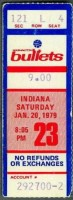 1979 NBA Pacers at Bullets ticket stub