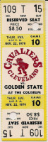 1979 Warriors at Cavaliers ticket stub