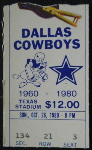 1980 Chargers at Cowboys ticket stub
