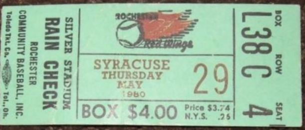 1980 Rochester Red Wings ticket stub vs Syracuse