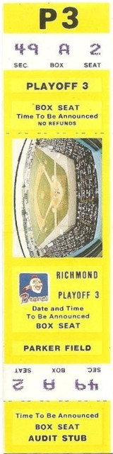 1980s MiLB Intl League Richmond Braves ticket stub - Version 3