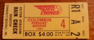 1981 MiLB Columbus Clippers at Rochester Red Wings ticket stub