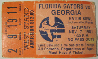 College Football Rivalry Week Ticket Stub Collection