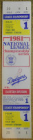 1981 NLCS Game 1 Expos at Dodgers Full ticket