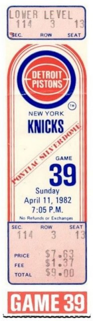 1982 NBA Knicks at Pistons ticket stub