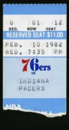 1982 NBA Pacers at 76ers ticket stub