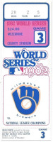 1982 World Series Game 3 ticket stub Cardinals at Brewers