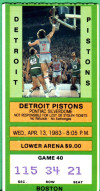 1983 Celtics at Pistons ticket stub