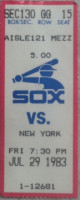 1983 Yankees at White Sox ticket stub