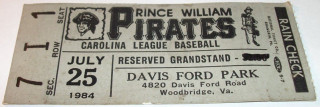1984 Prince William Pirates ticket stub