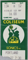 1985 Trail Blazers at Supersonics ticket stub
