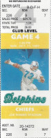 1987 Chiefs at Dolphins ticket stub