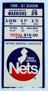 1987 NBA Golden State Warriors at New Jersey Nets ticket stub