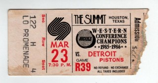 1987 NBA Pistons at Rockets ticket stub