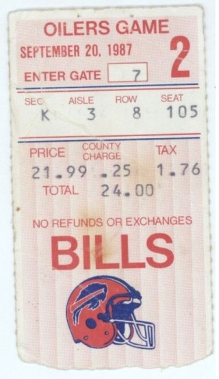 1987 NFL Oilers at Bills ticket stub