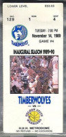 1989 NBA Golden State Warriors at Minnesota Timberwolves ticket stub