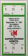 1991 NCAAF Eastern Michigan at Miami of Ohio ticket stub