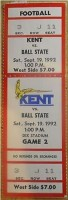 1992 NCAAF Ball State at Kent ticket stub