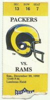 1992 Rams at Packers ticket stub