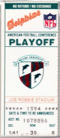 1994 AFC Playoffs Chiefs at Dolphins ticket stub