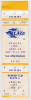 1997 Bakersfield Blaze ticket stub vs Visalia Oaks