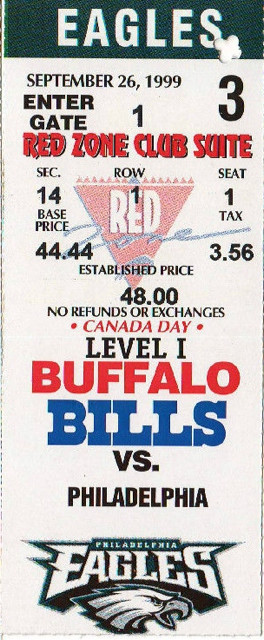 1999 Eagles at Bills ticket stub