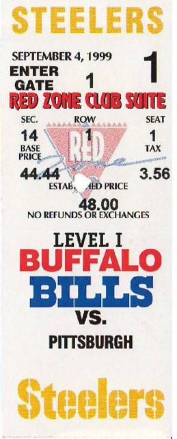 1999 Steelers at Bills ticket stub 1