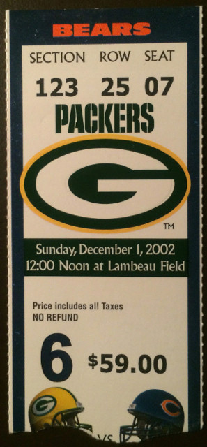 2002 Bears at Packers ticket stub