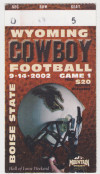 2002 NCAAF Wyoming ticket stub vs Boise State