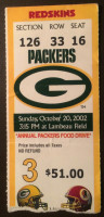 2002 Redskins at Packers ticket stub