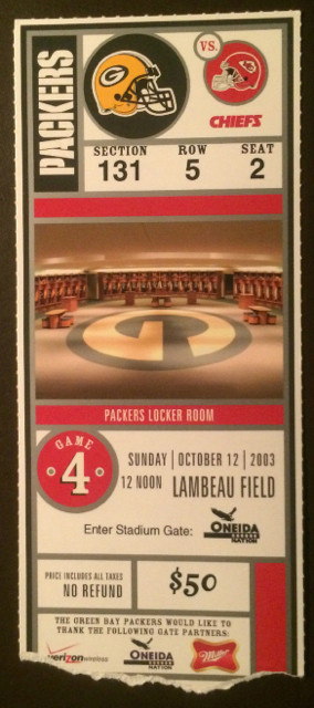 2003 Chiefs at Packers ticket stub