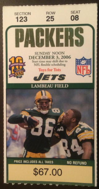 2006 Jets at Packers ticket stub 13