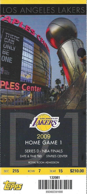 2009 NBA Finals Magic vs Lakers Game 1 ticket stub