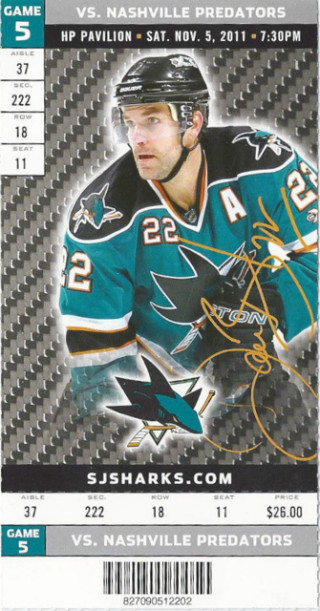 2011 NHL Predators at Sharks ticket stub