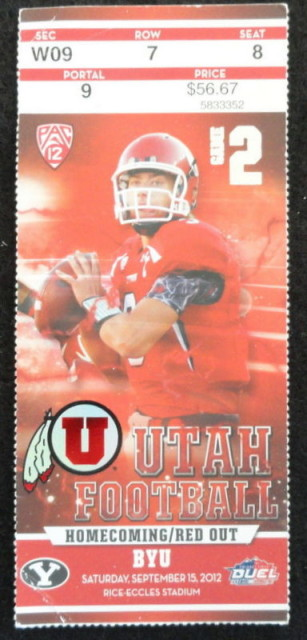 2012 NCAAF BYU at Utah ticket stub