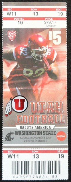 2012 NCAAF Washington State at Utah ticket stub