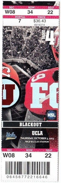 2013 NCAAF UCLA at Utah ticket stub