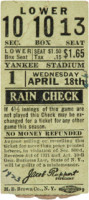 1923 Red Sox at Yankees Yankee Stadium Grand Opening Ticket Stub