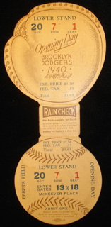 1940 MLB Giants at Dodgers Opening Day Full Ticket