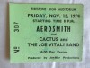1974 Aerosmith Cactus Joe Vitali Akron ticket stub
