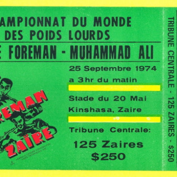1974 Boxing Muhammad Ali vs George Foreman Rumble in the Jungle ticket stub 600