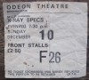 1978 X-Ray Specs Odeon Birmingham ticket stub