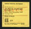 1981 Duran Duran Odeon Theatre Birmingham ticket stub