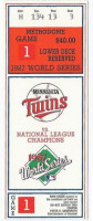 1987 World Series Game 1 ticket stub Cardinals at Twins