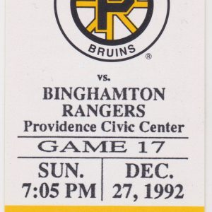 1992 Providence Bruins ticket stub vs Binghamton for sale