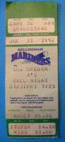 1992 Bellingham Mariners ticket stub vs Southern Oregon A's