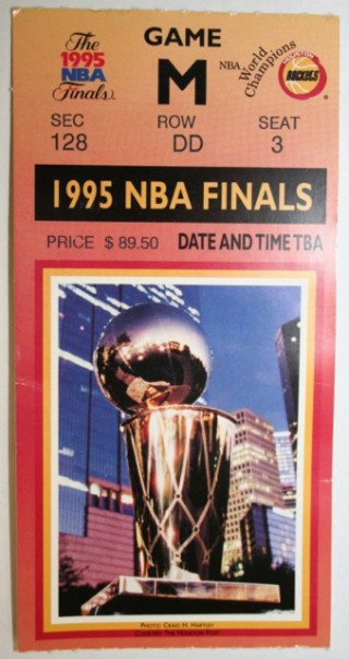 1995 NBA Finals Rockets vs Magic ticket stub 90